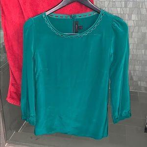 Emerald green j.crew boatneck silk blouse
